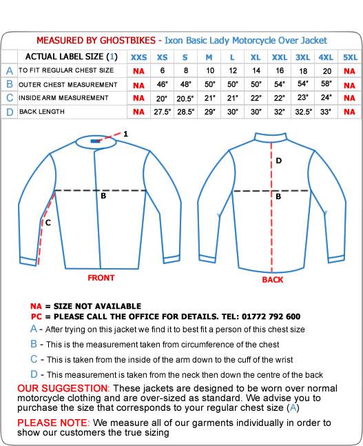 Buffalo Motorcycle Clothing Size Chart