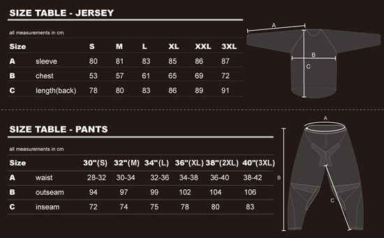 MX Force Jersey and Pants Size Guide