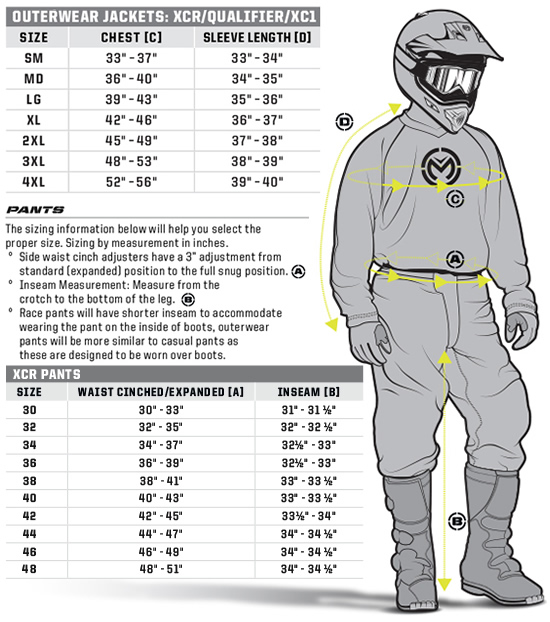 Moose Off Road Jacket and Pants Sizing Guide