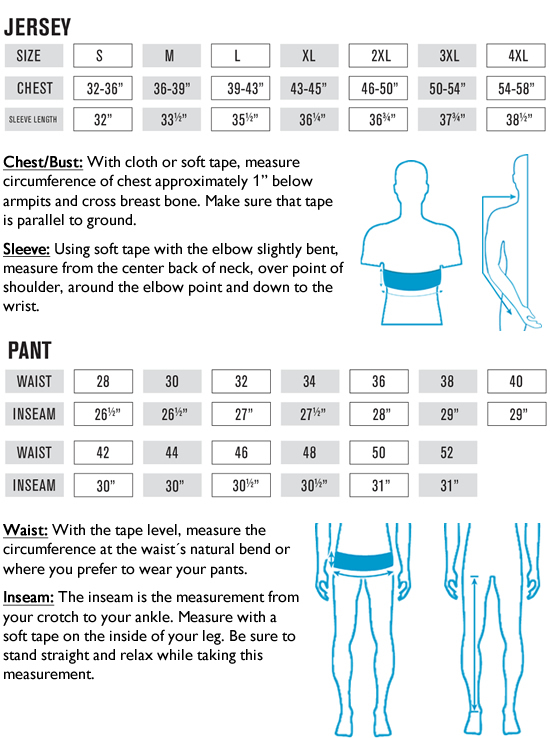 O'Neal MX Jersey and Pants Sizing Guide