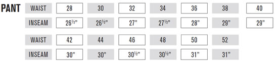 Oneal Pants Size Guide