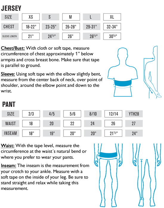 O'Neal Youth MX Jersey and Pants Sizing Guide