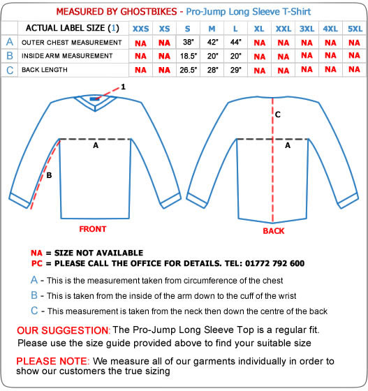 Pro-Jump Long Sleeve T-Shirt Size Guide