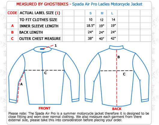 Spada Air Pro Ladies Motorcycle Jacket Size Guide