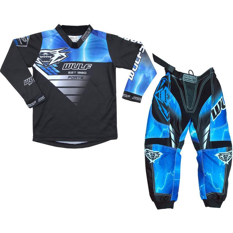 Wulf Forte Cub Kids Motocross Jersey & Pants Blue Kit