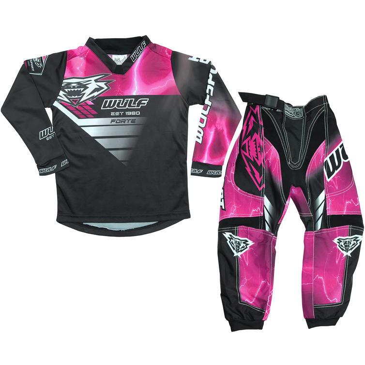 Wulf Forte Cub Kids Motocross Jersey & Pants Pink Kit