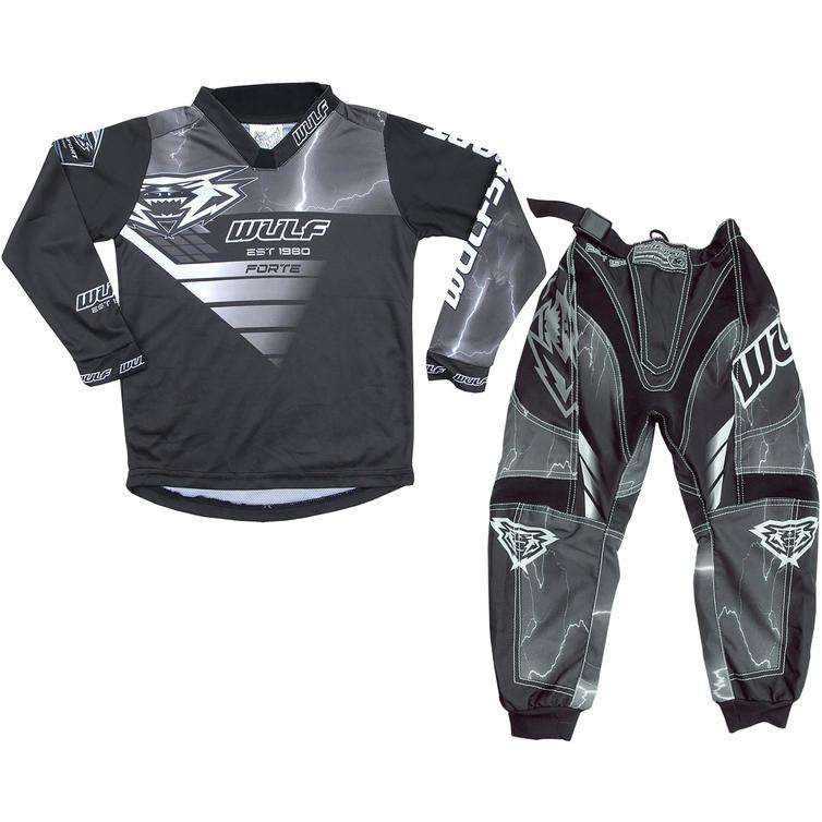 Wulf Forte Cub Kids Motocross Jersey & Pants Grey Kit