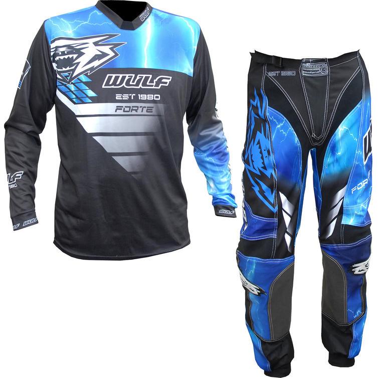 Wulf Forte Adult Motocross Jersey & Pants Blue Kit