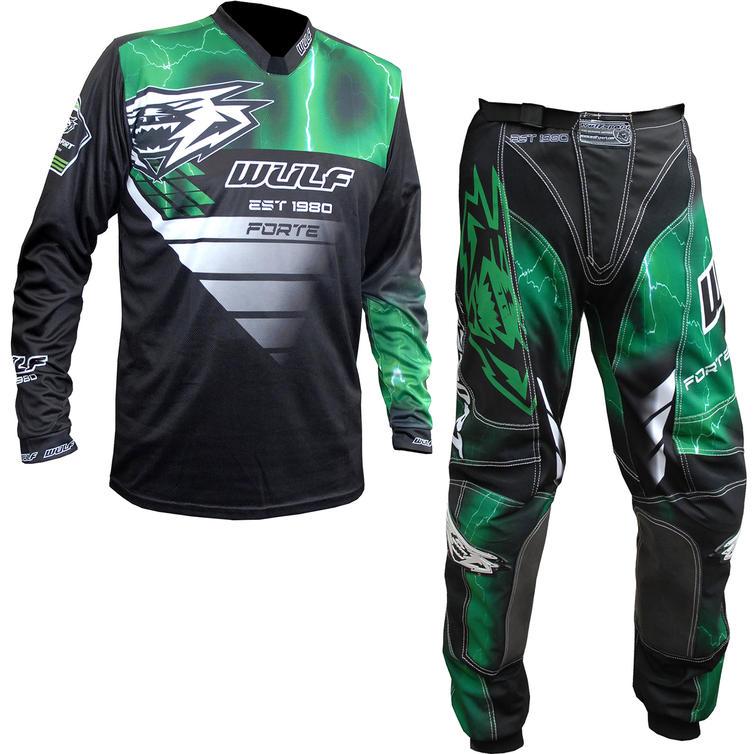 Wulf Forte Adult Motocross Jersey & Pants Green Kit