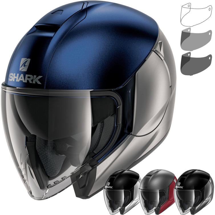 Shark City Cruiser Dual Blank Open Face Motorcycle Helmet & Visor