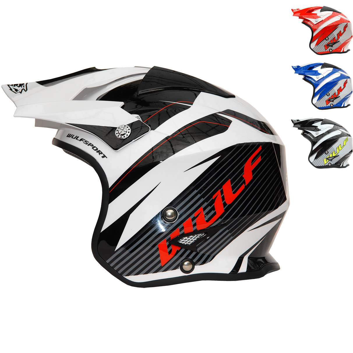 53-54cm Wulfsport Adult Vista Trials Motocross Helmet Motorbike Motorcycle Open Face Helmet With Visor White XS