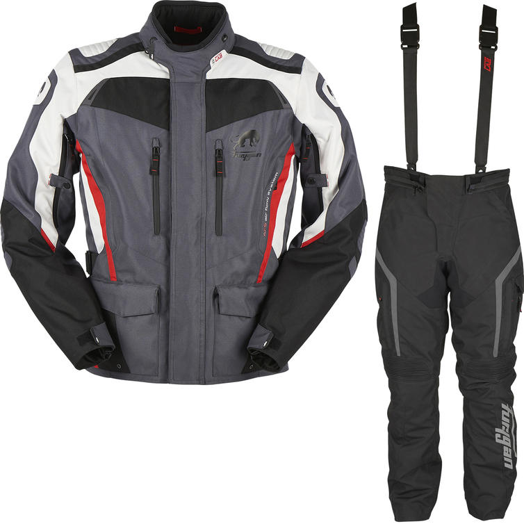 Furygan Apalaches Motorcycle Jacket & Pants Black Grey Red Black Kit