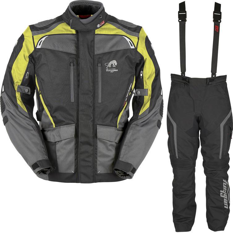 Furygan Apalaches Motorcycle Jacket & Pants Black Yellow Fluo Black Kit
