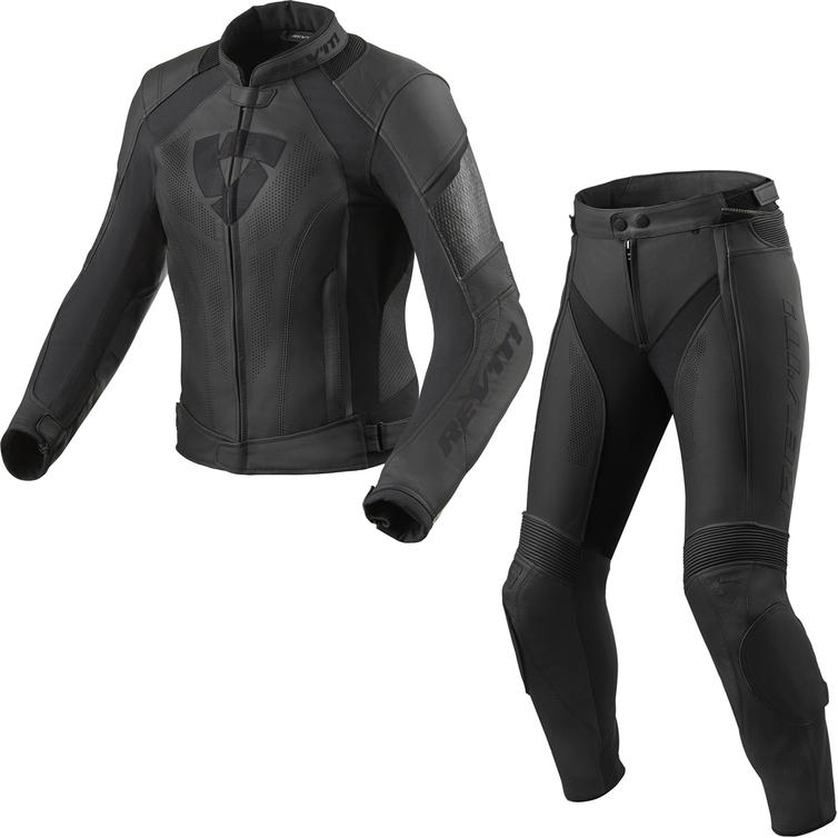 Rev It Xena 3 Ladies Leather Motorcycle Jacket & Trousers Black Kit
