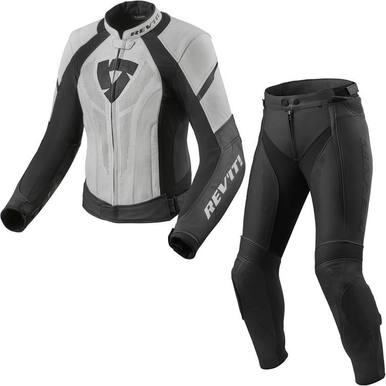 Rev It Xena 3 Ladies Leather Motorcycle Jacket & Trousers White Black Kit