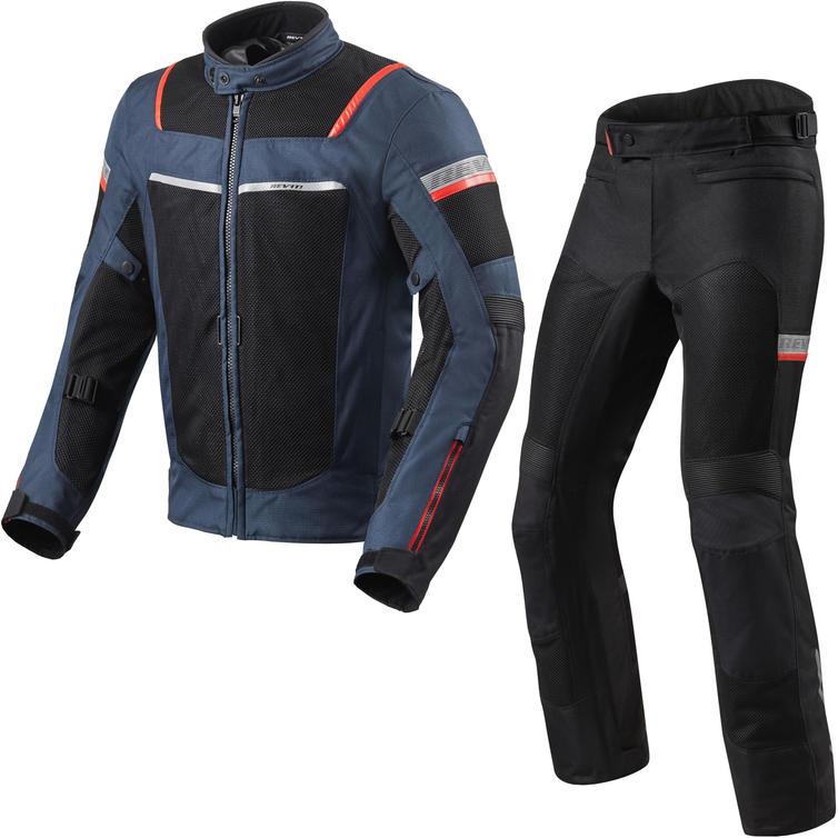 Rev It Tornado 3 Motorcycle Jacket & Trousers Dark Blue Black Kit
