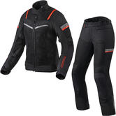 Rev It Tornado 3 Ladies Motorcycle Jacket & Trousers Black Kit