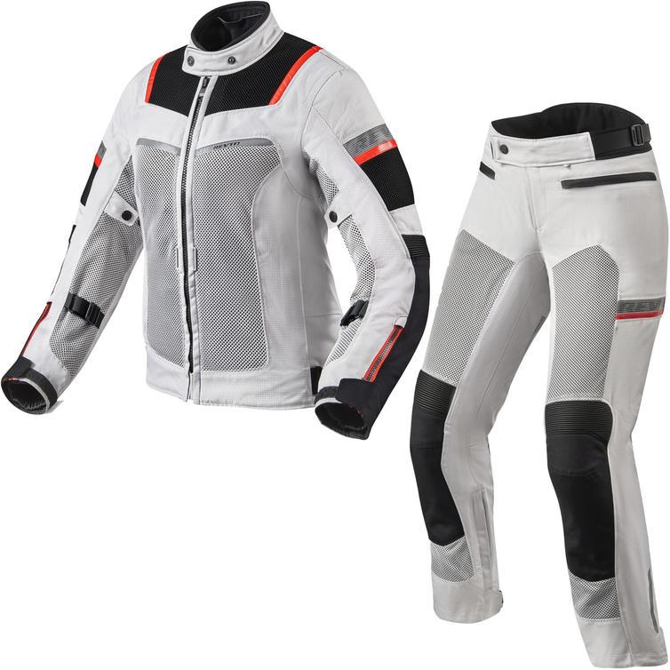 Rev It Tornado 3 Ladies Motorcycle Jacket & Trousers Silver Black Kit