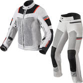Rev It Tornado 3 Ladies Motorcycle Jacket & Trousers Silver Black Kit