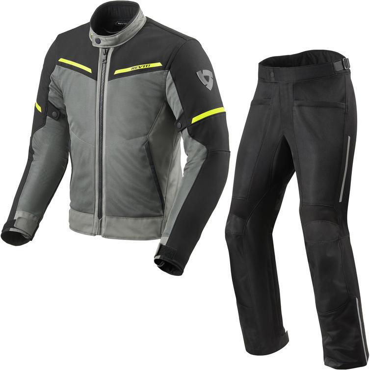 Rev It Airwave 3 Motorcycle Jacket & Trousers Grey Black Kit