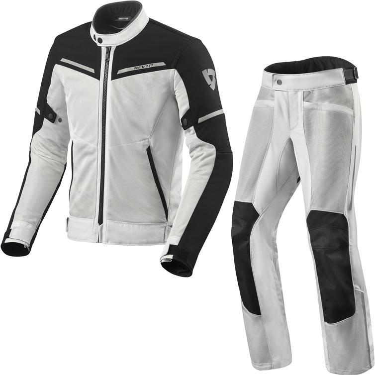 Rev It Airwave 3 Motorcycle Jacket & Trousers Silver Black Kit