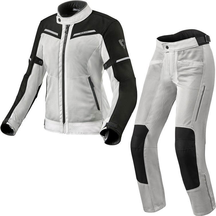Rev It Airwave 3 Ladies Motorcycle Jacket & Trousers Silver Black Kit