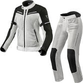 Rev It Airwave 3 Ladies Motorcycle Jacket & Trousers Silver Black Kit
