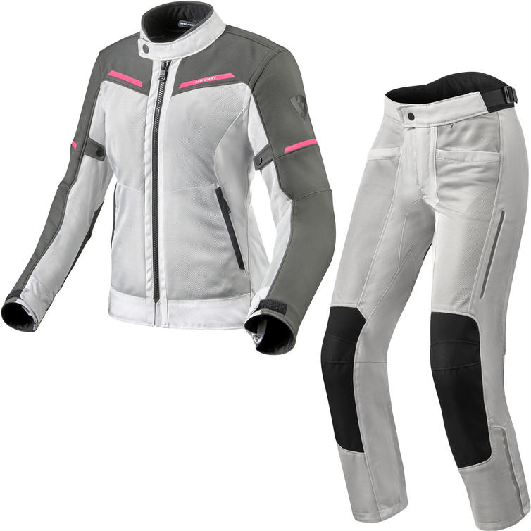 Rev It Airwave 3 Ladies Motorcycle Jacket & Trousers Silver Pink Kit