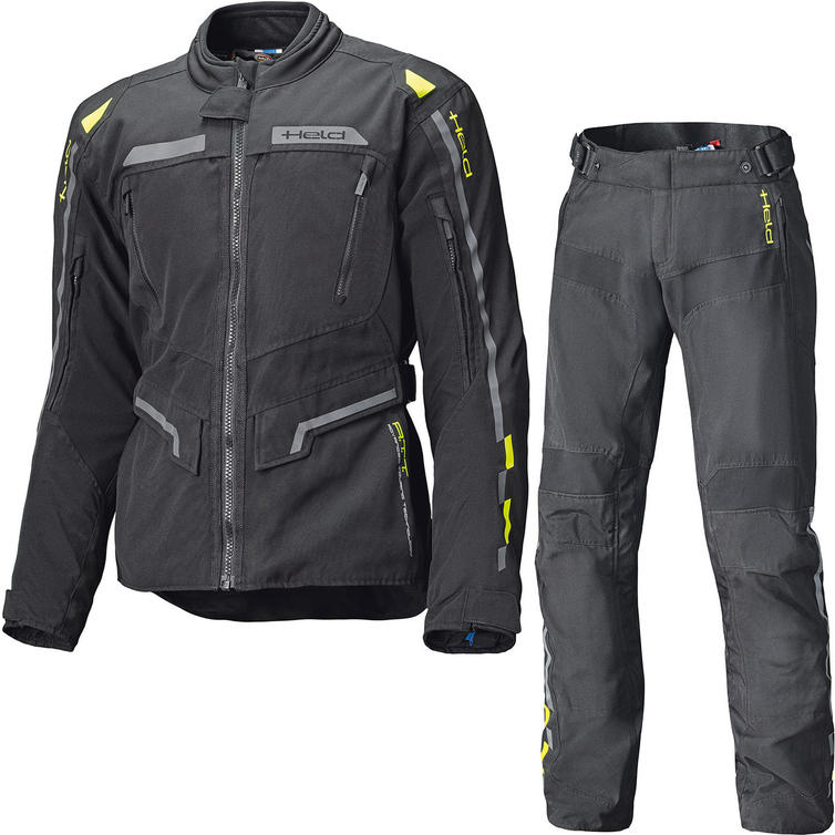 Held Traveller Motorcycle Jacket & Trousers Black Fluorescent Yellow Kit
