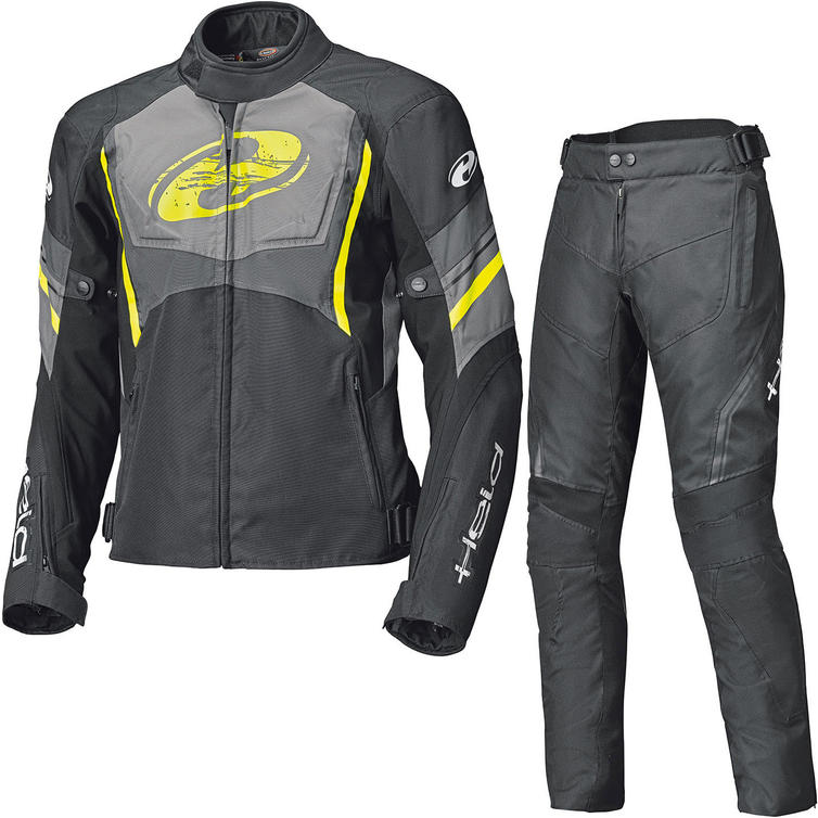 Held Baxley Motorcycle Jacket & Trousers Black Fluorescent Yellow Kit