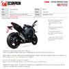 Scorpion Serket Taper Stainless Steel Slip-On Exhaust (Pair) - Kawasaki Z1000 2017 - 2019 Thumbnail 10