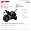 Scorpion Serket Taper Satin Titanium Slip-On Exhaust (Pair) - Kawasaki Z1000 2017 - 2019 Thumbnail 10