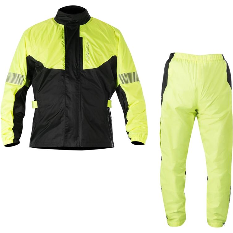 Alpinestars Hurricane Motorcycle Rain Over Jacket & Pants Kit Yellow Fluo Black