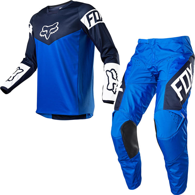 Fox Racing 2021 180 REVN Motocross Jersey & Pants Blue Kit