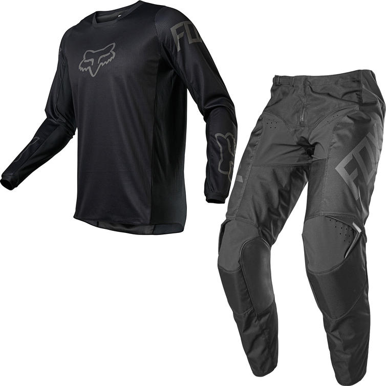 Fox Racing 2021 180 REVN Motocross Jersey & Pants Black Kit