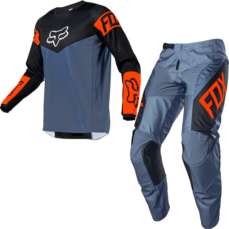 Fox Racing 2021 180 REVN Motocross Jersey & Pants Blue Steel Kit