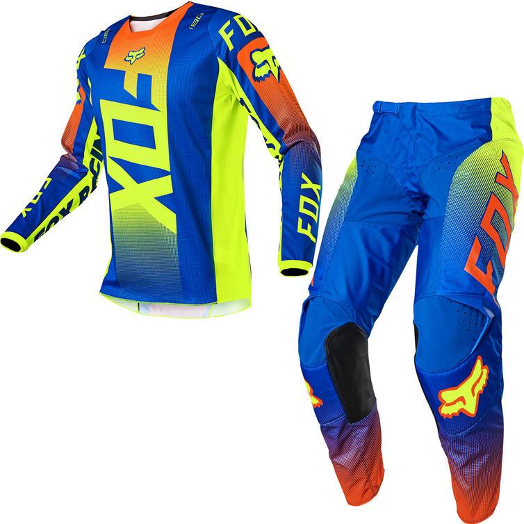 Fox Racing 2021 180 Oktiv Motocross Jersey & Pants Blue Kit
