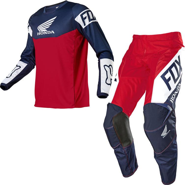 Fox Racing 2021 180 Honda Motocross Jersey & Pants Navy Red Kit