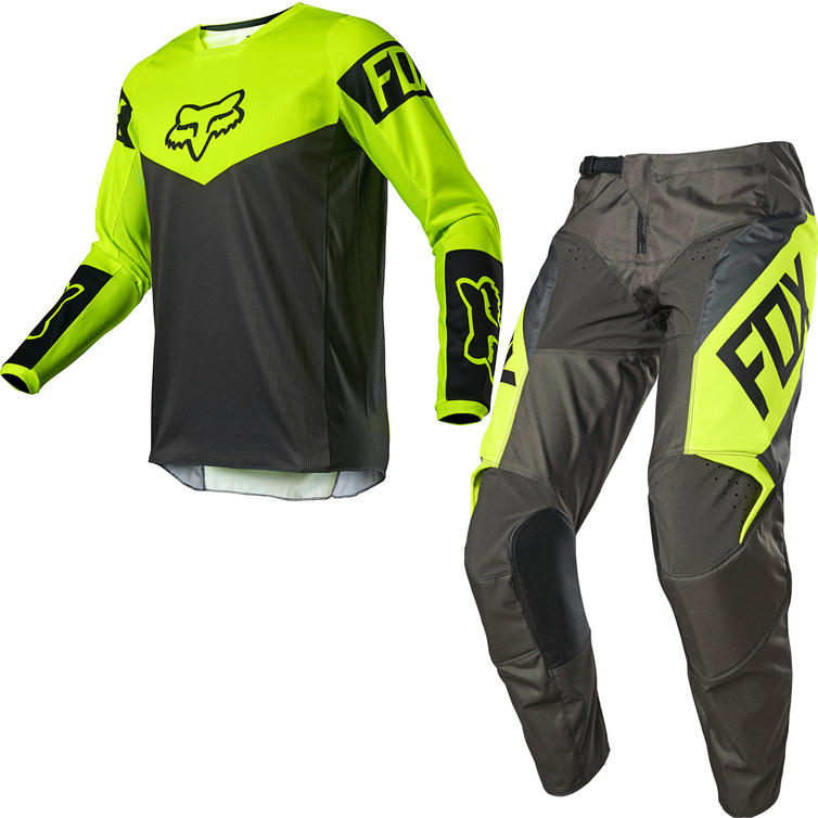 Fox Racing 2021 Youth 180 REVN Motocross Jersey & Pants Fluo Yellow Kit