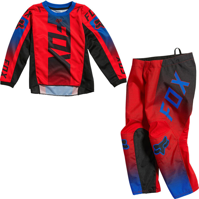 Fox Racing 2021 Kids 180 Oktiv Motocross Jersey & Pants Fluo Red Kit