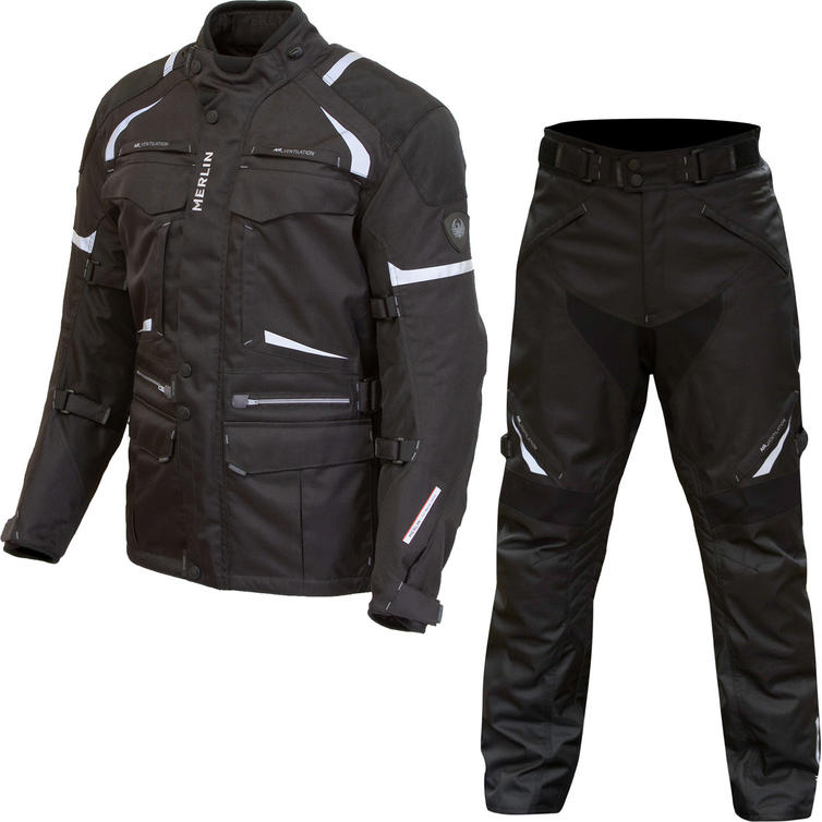 Merlin Neptune 2.0 D3O Motorcycle Jacket & Trousers Black Kit