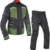 Oxford Quebec 1.0 Motorcycle Jacket & Trousers Army Green/Tech Black Kit