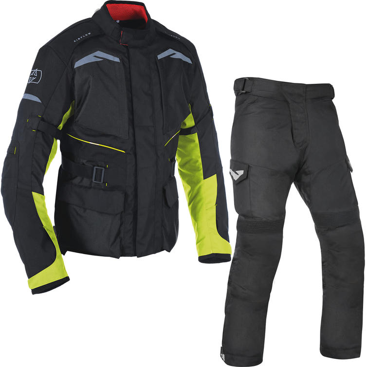 Oxford Quebec 1.0 Motorcycle Jacket & Trousers Black Fluo/Tech Black Kit