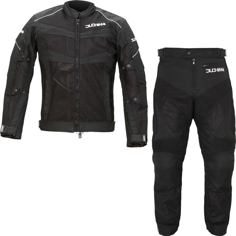 Duchinni Vento Motorcycle Jacket & Trousers Black Kit