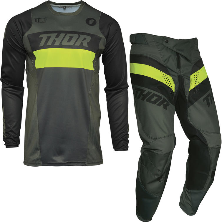 Thor Pulse Racer Motocross Jersey & Pants Army Green Acid Kit