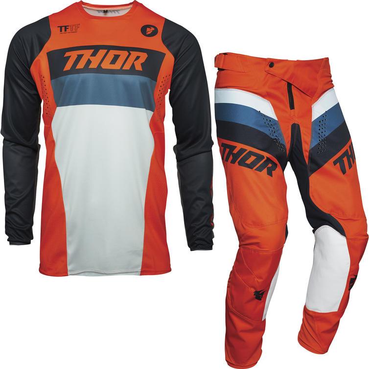 Thor Pulse Racer Youth Motocross Jersey & Pants Orange Midnight Kit
