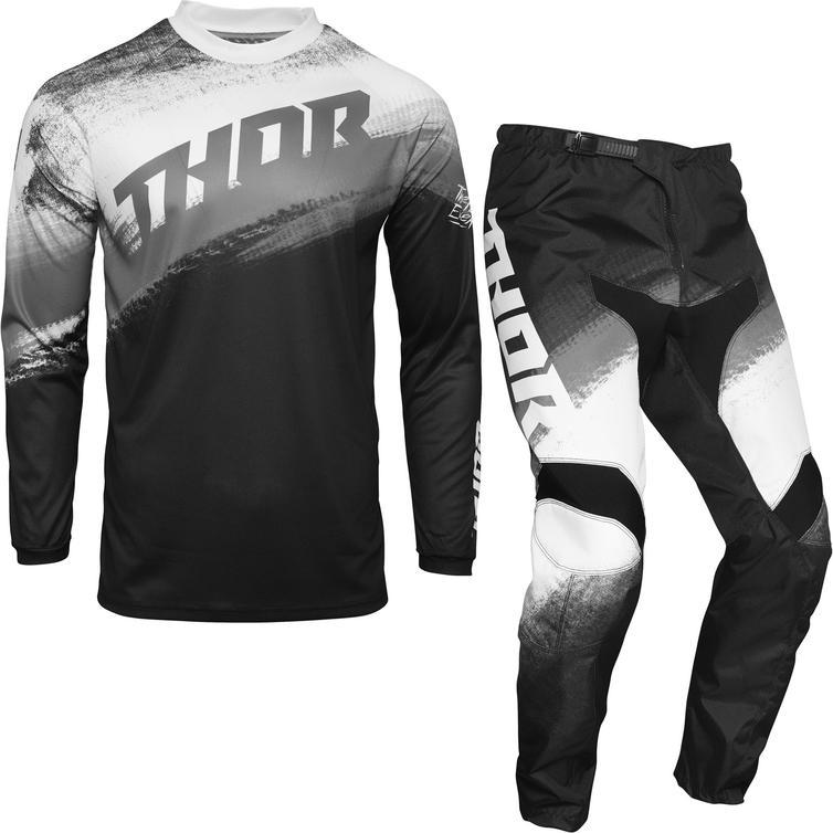 Thor Sector Vapor Motocross Jersey & Pants Black White Kit