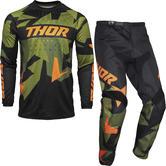 Thor Sector Warship Motocross Jersey & Pants Green Orange Kit