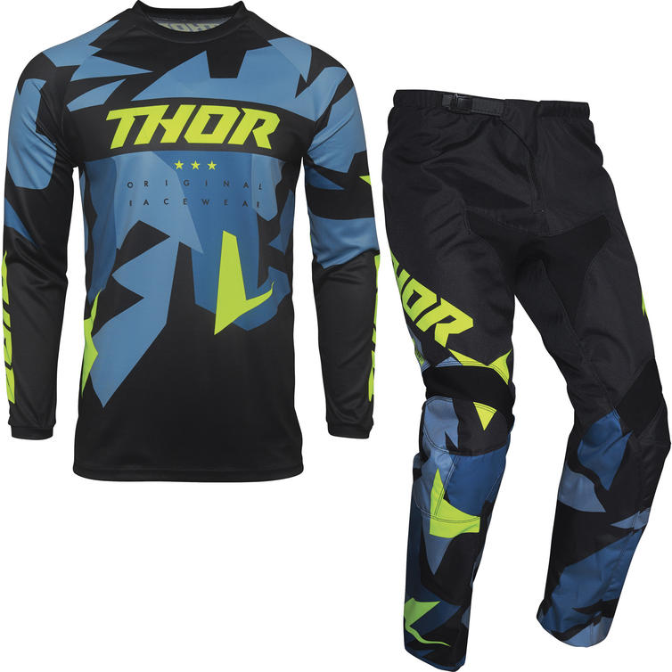 Thor Sector Warship Youth Motocross Jersey & Pants Blue Acid Kit