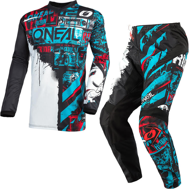 Oneal Element 2021 Ride Youth Motocross Jersey & Pants Black Blue Kit